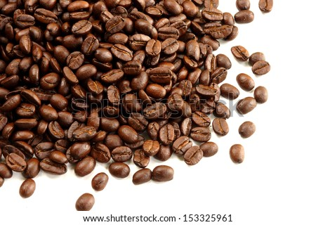 coffee bean on the white background.