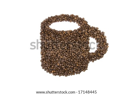 Coffee bean texture mug on white background - stock photo