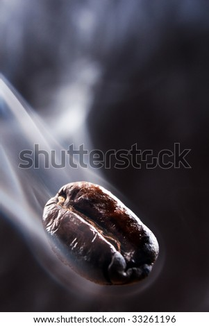 coffee bean with smoke