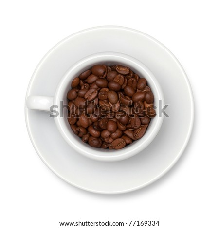 Coffee beans. Above view. Isolated on white background - stock photo