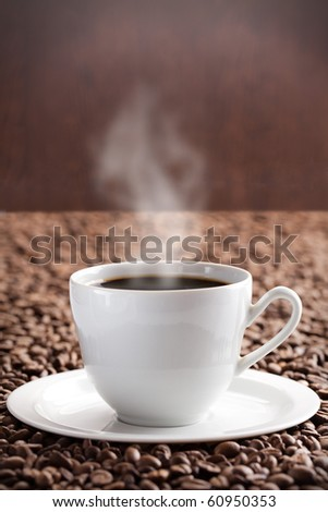 coffee beans and aroma coffee - stock photo
