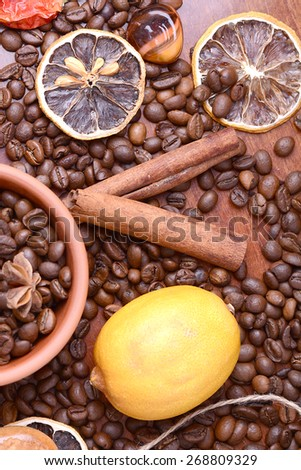 coffee beans and aroma spice - stock photo