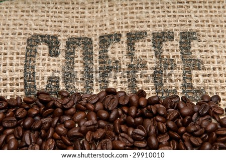 Coffee Beans and Burlap Background - stock photo
