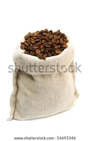 coffee beans and burlap sack isolated on white - stock photo