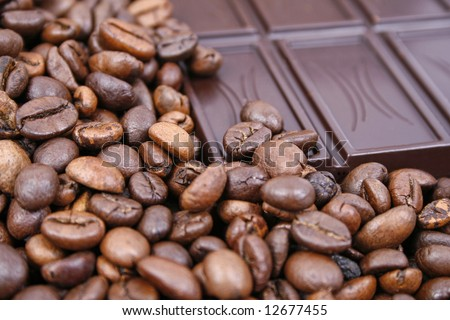 Coffee beans and chocolate bar