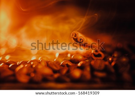 Coffee beans and cinnamon sticks - stock photo