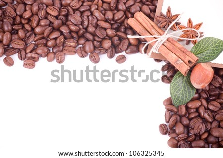 Coffee beans and cinnamon with paper banner - stock photo