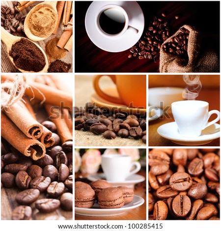 Coffee beans and cup, cinnamon. Coffee concept - stock photo