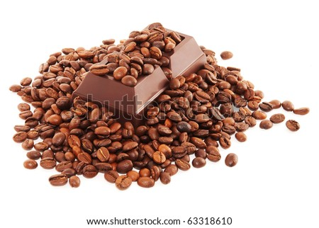 Coffee beans and dark chocolate isolated on white background - stock photo