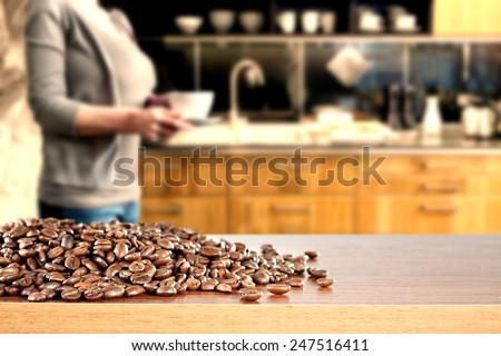 coffee beans and desk with kitchen space  - stock photo