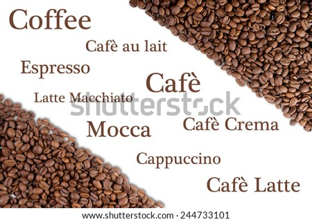 Coffee beans and different types of coffee / Coffee - stock photo