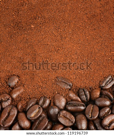 Coffee Beans and Granulated Instant Coffee - stock photo