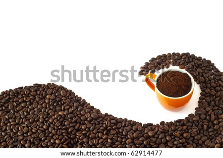 coffee beans and ground coffee on a white background - stock photo