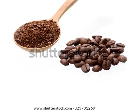 Coffee beans and ground coffee on wooden spoon isolated over white background - stock photo