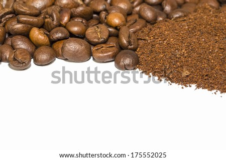Coffee beans and grounded coffee isolated on white - stock photo