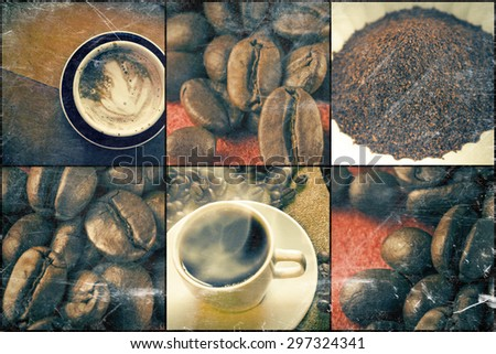 Coffee beans and latte in morning beverage collage - stock photo