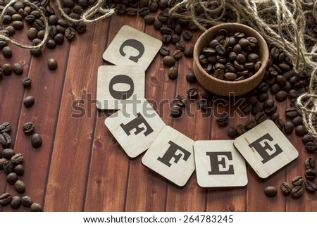 coffee beans and letters