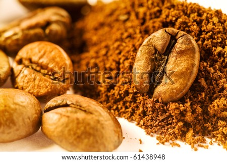 coffee beans and powder - stock photo