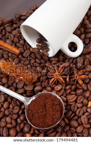 Coffee Beans, anise and sugar