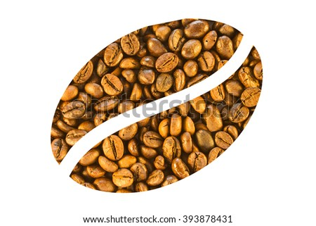 Coffee beans are stacked in the form of a large white coffee bean - stock photo