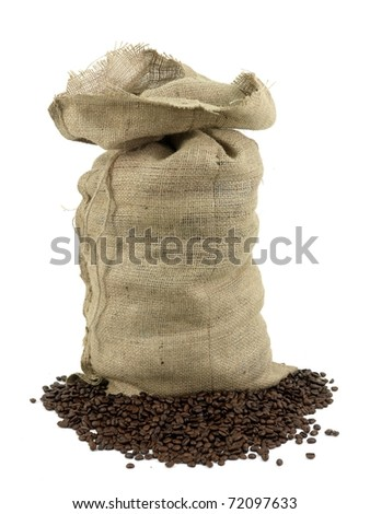 Coffee beans around a hessian bag isolated on white - stock photo