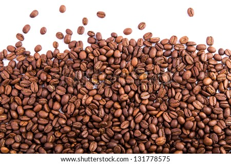 Coffee beans as a background isolated on white - stock photo