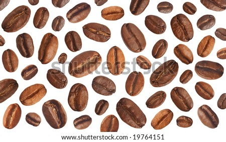 Coffee beans as the background. Isolated.