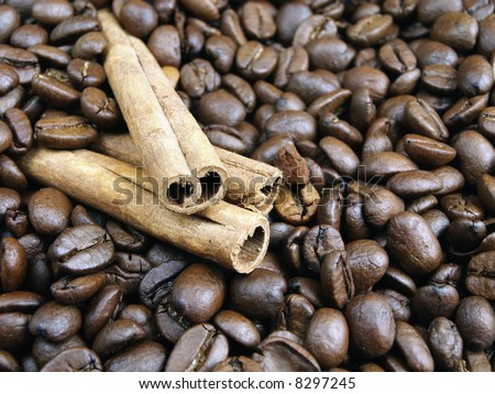 coffee beans background / coffee beans and cinnamon