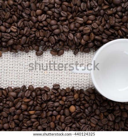 Coffee beans, background. Selective focus.