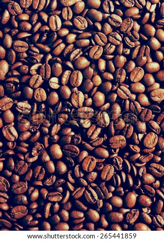 Coffee beans background. Toning effect done with a vintage retro Instagram style filter