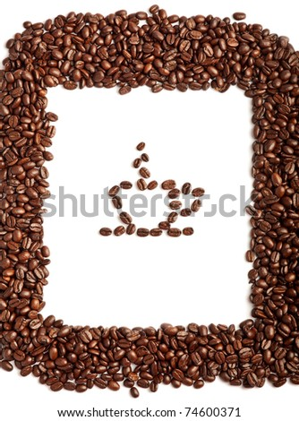 Coffee beans border with coffe cup beans on the white background - stock photo