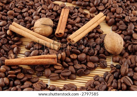 Coffee beans, cinnamon and nuts