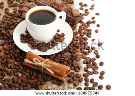 Coffee beans close-up - stock photo
