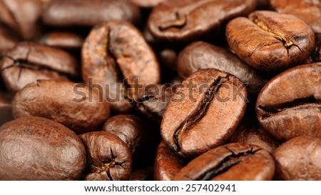 Coffee Beans Close-Up (16:9 Aspect Ratio) - stock photo
