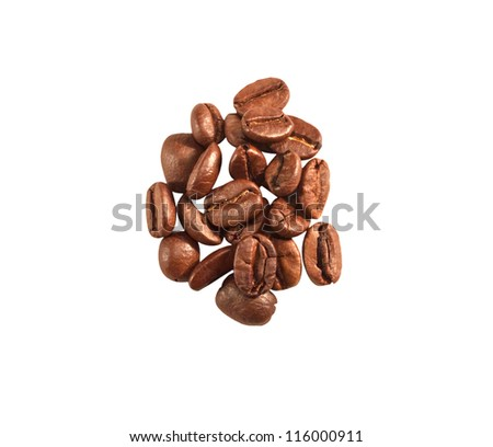 Coffee beans close-up isolated on a white background