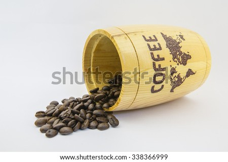 coffee beans close up isolated on white background,karntiphat changrua - stock photo