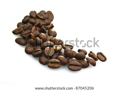 Coffee beans close up on white background - stock photo