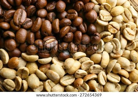Coffee beans, closeup - stock photo