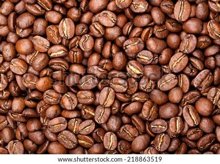 Coffee beans closeup background  - stock photo