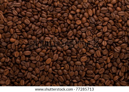 Coffee beans closeup background - stock photo