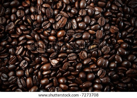 Coffee beans closeup, background, wallpaper or texture - stock photo