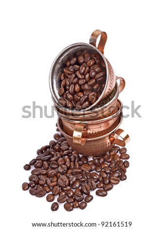 Coffee beans, coffee cup, isolated white background - stock photo