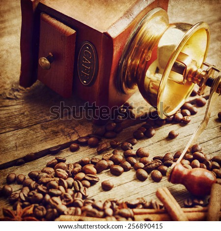 Coffee beans, coffee grinder, cinnamon and anise on wooden background - stock photo