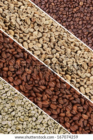 Coffee beans collage - stock photo