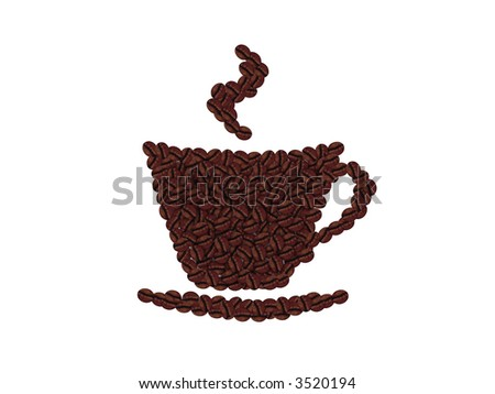 coffee beans cup isolated - stock photo