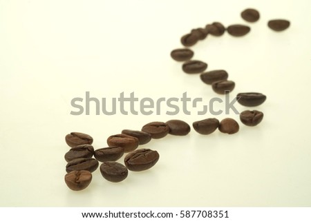 Coffee Beans draw a zigzag line isolated on white background.
