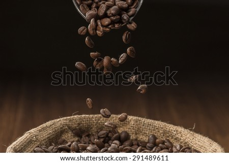 Coffee Beans Falling - stock photo