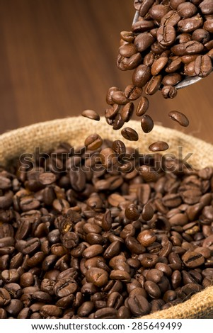 Coffee Beans Falling Into Coffee Beans Bag