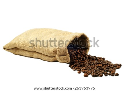 Coffee beans falling out of the bag  isolated on white background - stock photo