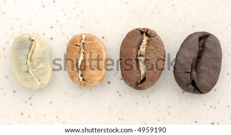 Coffee Beans from around the world - Close-up on stone background - stock photo